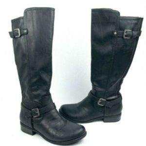 G by Guess Hyde Black Knee High Moto Boots Women 9